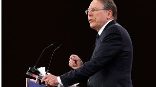 """NRA chief Wayne LaPierre says the way to """"stop a bad guy with a gun,"""" in the nation's schools is to arm a """"good guy with a gun."""" (The Associated Press)"""