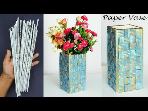 Paper flower vase making || Easy flower basket making with newspaper