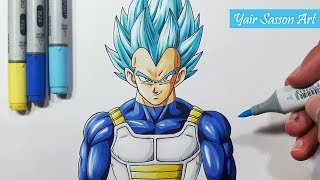 How To Draw Vegeta Super Saiyan BLUE! - Step By Step Tutorial!