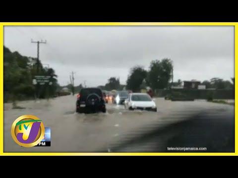 Tropical Storm Ida   Flooded Roadways in Jamaica Trap Motorist   TVJ News - August 27 2021