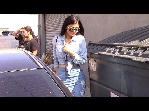 Dark-Haired Kylie Jenner Goes Shopping In Skintight Denim thumbnail