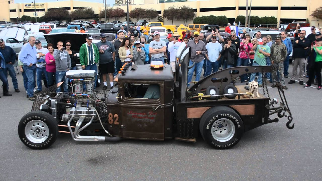 RatRod Revving Engine And Blowing Flames