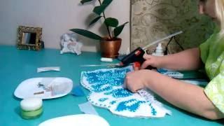 как сделать кокошник для снегурочки.2 часть