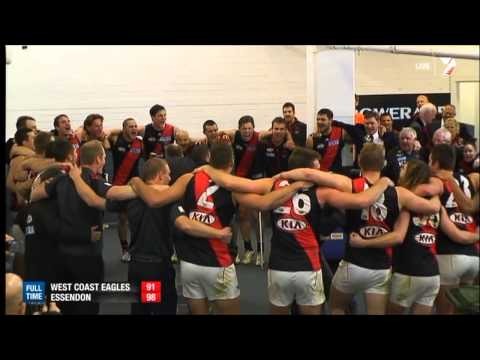 Essendon singing song after beating West Coast (boo)