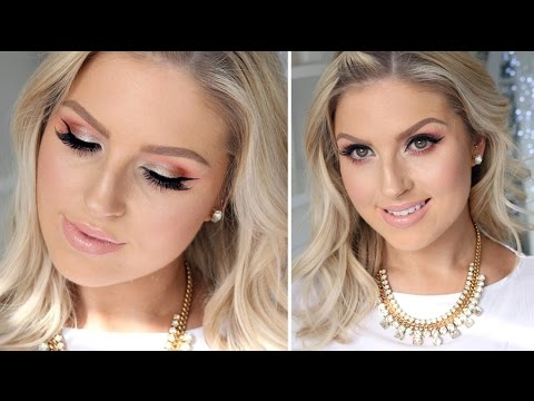 My Birthday Hair U0026 Makeup Tutorial! U2661 Glitter Pink U0026 Peach! - YouTube