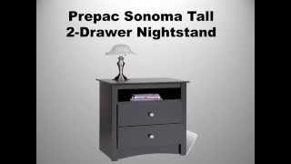 Prepac Sonoma Tall 2 Drawer Nightstand