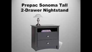 Prepac Sonoma Tall 2 Drawer Nightstand