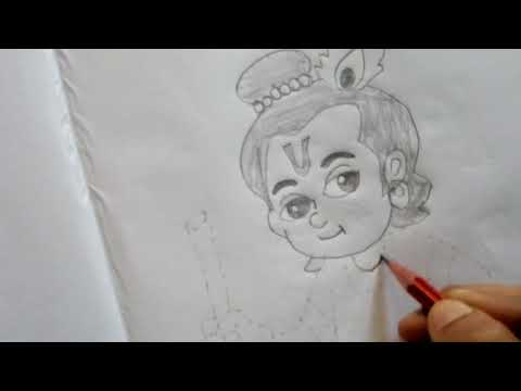 How to Draw Lord Little Krishna Image Easy for KIDS