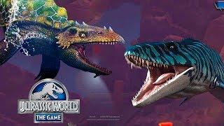 Мозазавр и Дакодерма в бою Jurassic World The Game