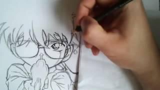 Detective Conan   Conan and Shinichi Movie 2 Speed Drawing #7 720p