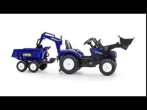 Трактор-экскаватор педальный с ковшом и прицепом Falk Tractor NEW HOLLAND 3090W