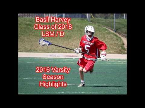 Basil Harvey - Class of 2018 - LSM / D - Lacrosse Highlights - 2016 Thomas Worthington High School