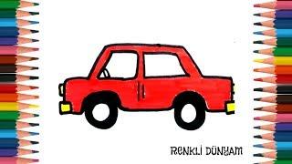 Kırmızı Araba Nasıl Çizilir ? Araba Çizimi (How to draw a red car) Renkli Dünyam