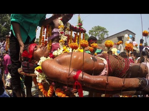 Devotees crucify themselves,