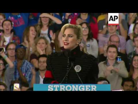 Download Lady Gaga shows her support for Clinton at rally