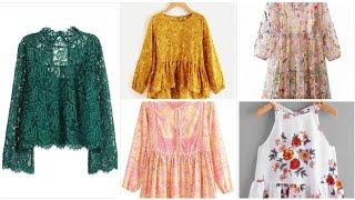 Soo beautifull & stylish printed net top shirts design/casual wear