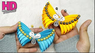 DIY - How to make butterfly with satin ribbon || Kanzashi || bros kupu-kupu