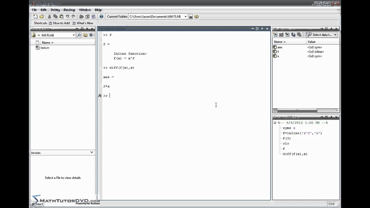 Matlab Essential Skills Sect 38 Taking Derivatives in