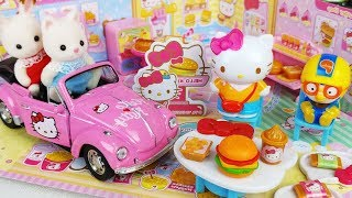 Hello Kitty burger shop mart register and cooking food toys car play - 토이몽