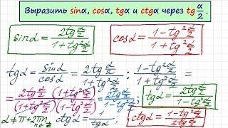 Синус и косинус через тангенс половинного угла. Тригонометрия-15
