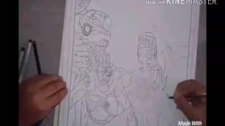 Speed drawing Uzumaki Naruto , kyuubi , Killer Bee and hachibi ( Naruto shippuden )