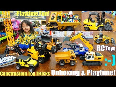 Remote Control Trucks: RC Forklift Truck and RC Construction Trucks! Kids' Toy Trucks Unboxing