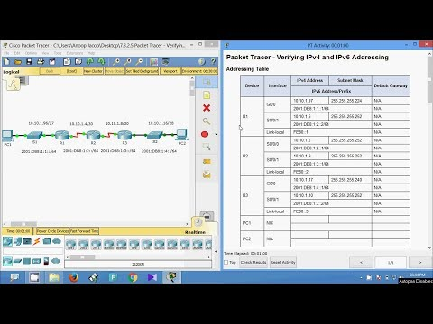7.3.2.5 Packet Tracer - Verifying IPv4 and IPv6 Addressing