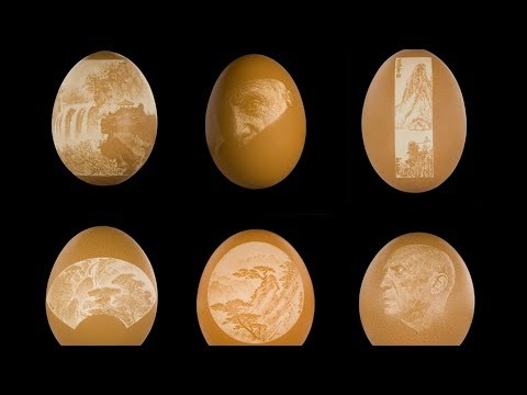 Man shows patient touch when making delicate eggshell art