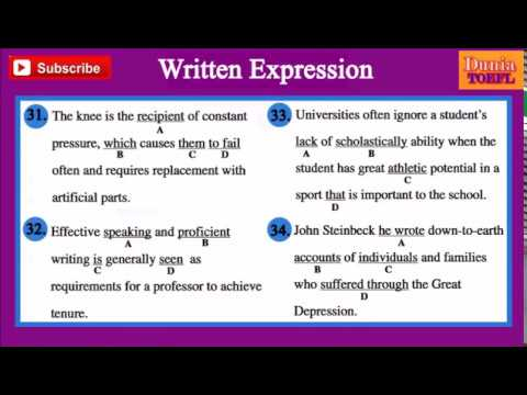 TOEFL Structure & Written Expression Full Practice Test 39 with Answers and Explanations