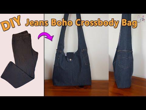 DIY JEANS BOHO CROSSBODY BAG   DIY BAG   BOHO BAG   BAG OUT OF JEANS   BAG SEWING TUTORIAL