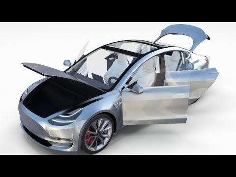 Tesla Model 3 Silver with interior 3D model