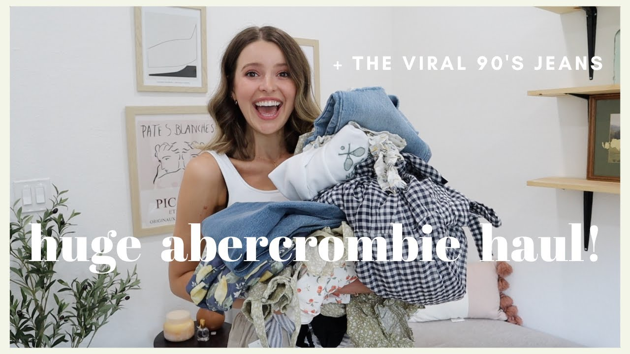 Download HUGE ABERCROMBIE HAUL | Is it worth the hype? | 90's Jeans, Swim, Loungewear, Spring Dresses + MORE!