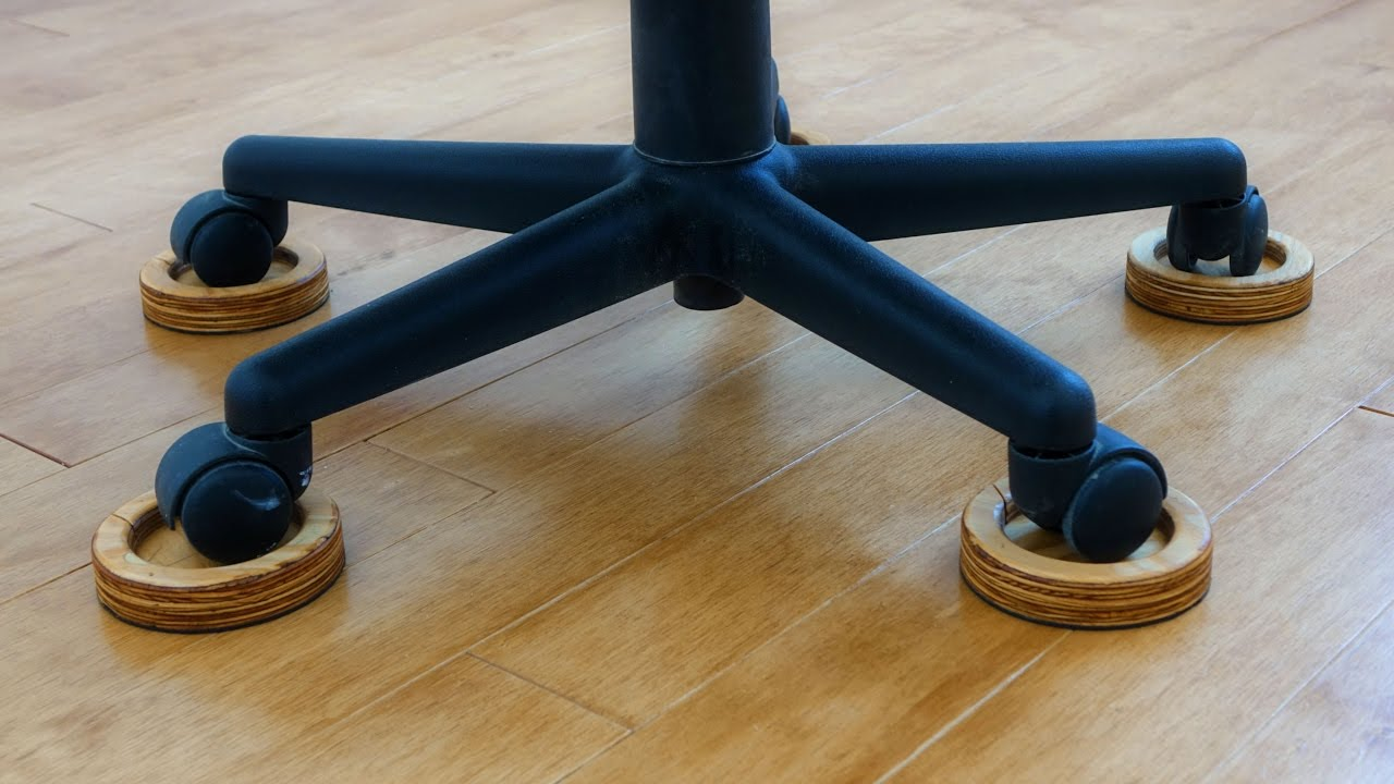 Rolling Desk Chair With Locking Wheels Bistro Set Swivel Chairs Save Your Wood Floor From The Evil Office These Diy Caster Coasters
