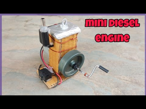 how to make a diesel engine model at home | mini diesel engine from cardboard