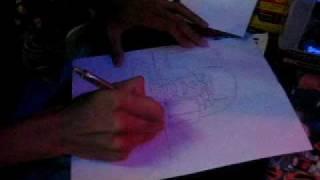 Joe Ng of Udon Studios drawing G1 Megatron at TFSK2007! Part 1
