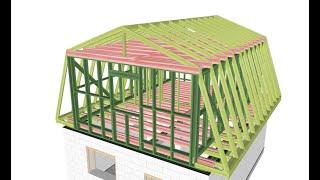 Мансардная крыша классическая ломаная Ч.2. - каркас (субтитры) // mansard roof (subs)