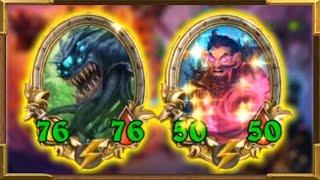 Hearthstone Battlegrounds: Super Early Huge Golden Demons | Triple Wrath Weaver & Floating Watcher