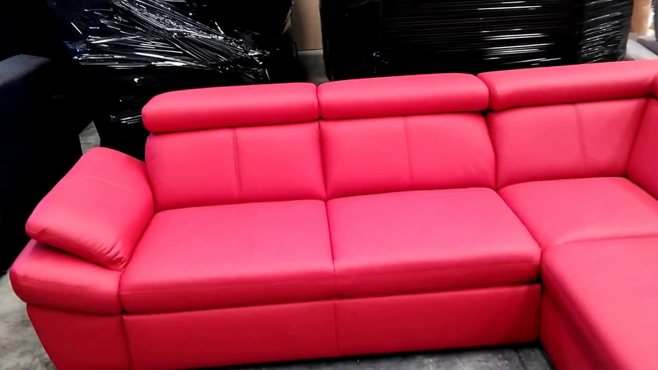 Red corner sofa with storage and reclining headrests - YouTube