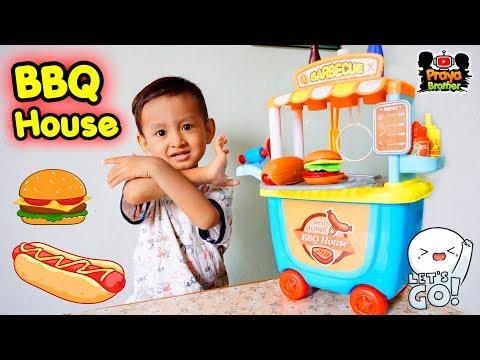 Mainan Gerobak Masak Masakan Burger Hot Dog Sosis Bakar Barbeque House Kitchen Set Toys Youtube
