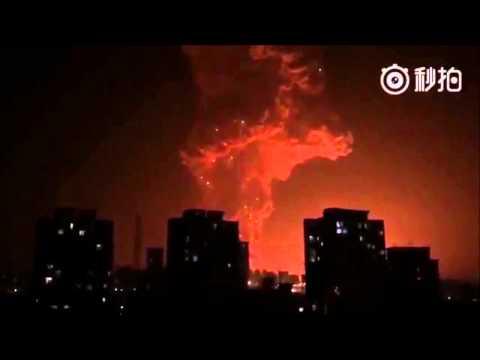 中国天津市のコンテナ埠頭で起きた化学大爆発事故の衝撃映像まとめ!