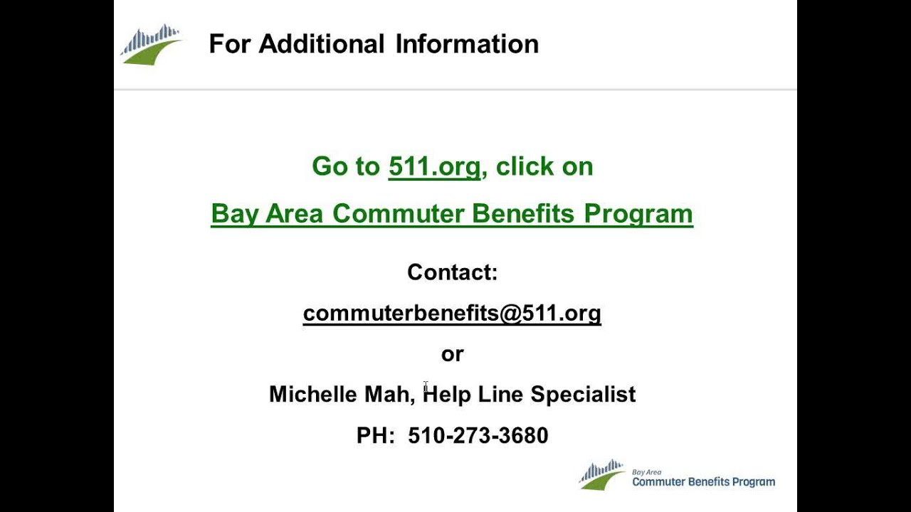 511 Bay Area >> Bay Area Commuter Benefits Program Webinar