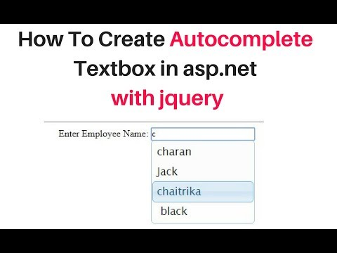 How To Create JQuery AutoComplete Textbox In ASP.Net C# 4.6 With Database