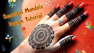 How to apply easy simple henna mandala/gol tikki mehndi designs for hands for eid,diwali 2017