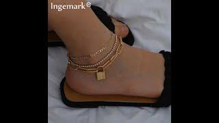 Женский браслет на ногу с цепочкой в стиле панк подвеской замком и кристаллами регулируемые