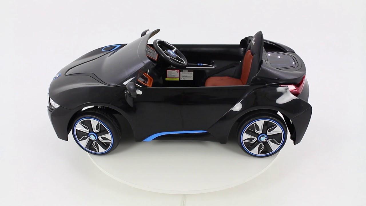 elektrische kinderauto bmw i8 zwart youtube. Black Bedroom Furniture Sets. Home Design Ideas