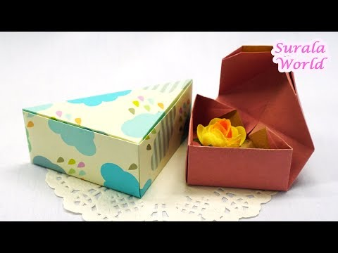 Gift Box DIY, Gift wrapping / Triangular Box Origami / How to make a Paper Box
