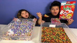 1 GALLON OF TRIX CEREAL SLIME VS 1 GALLON OF REAL TRIX CEREAL - MAKING GIANT FOOD SLIME