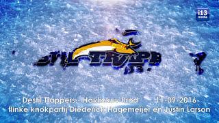 Ijshockey vechtparty: Diederick Hagemeijer en Justin Larson laten niet met zich spotten