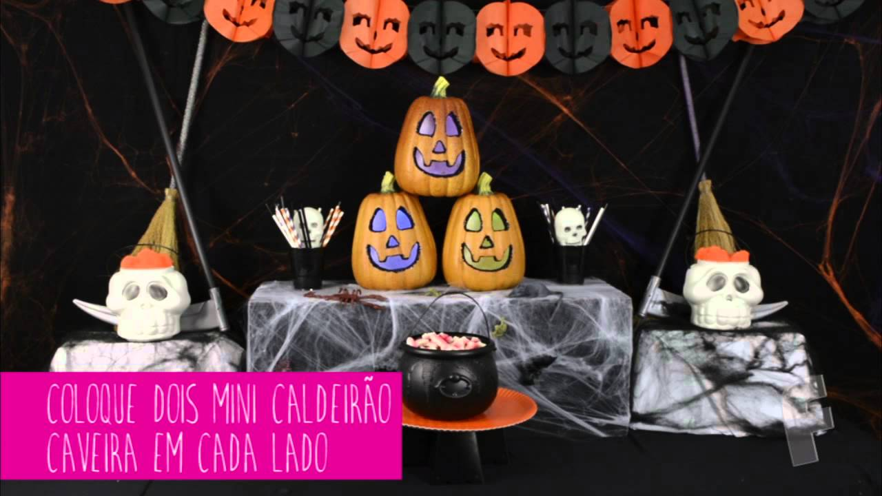 Dicas para Montar uma Mesa de Halloween Festabox YouTube -> Decoracao Para Mesa Halloween