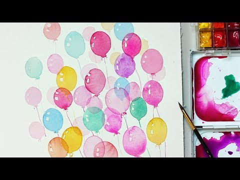 How to Paint Balloons with Watercolors for Beginners  Easy and Simple way